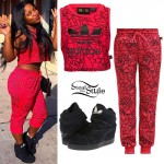 Reginae Carter: Red Print Sweats