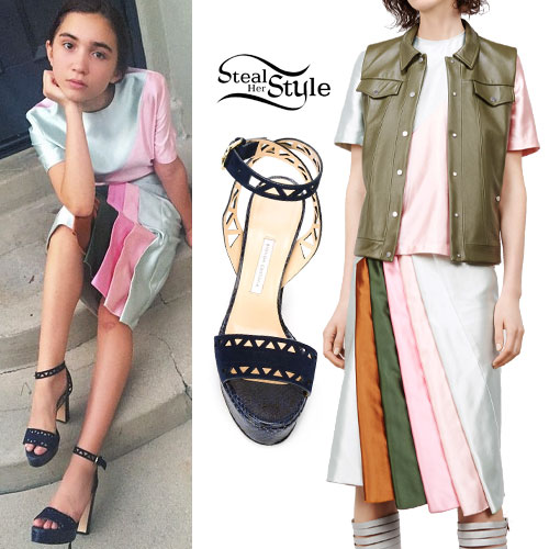 Rowan Blanchard: Multiocolor Pleated Skirt
