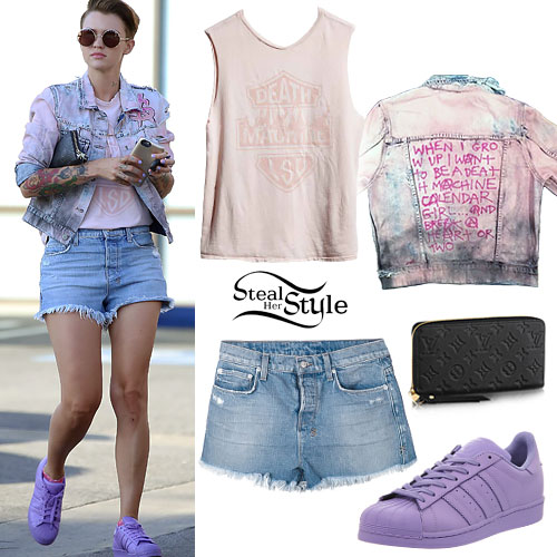 Ruby Rose: Denim Shorts, Purple Sneakers