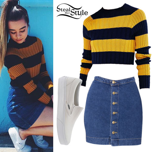 Sierra Furtado: Striped Sweater, Denim Skirt