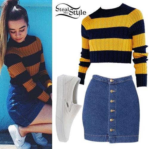 Sierra Furtado: Striped Sweater, Denim Skirt