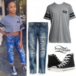 Skai Jackson: Honey Tee, Black Converse