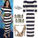 Sofia Carson: Striped Top & Midi Skirt