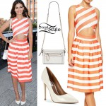 Victoria Justice: Orange Striped Dress