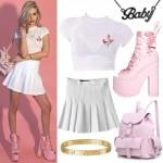 Amanda Steele: White Baby Tee, Pink Platforms