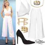Amanda Steele: White Bralet, Wide Leg Pants