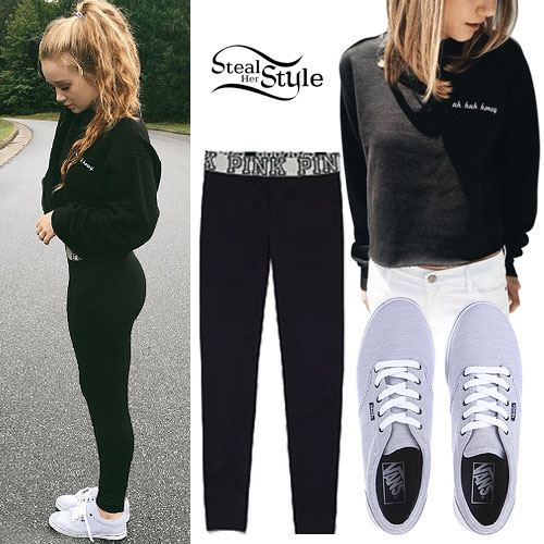 Ansley Newman: Honey Crewneck, Gray Vans