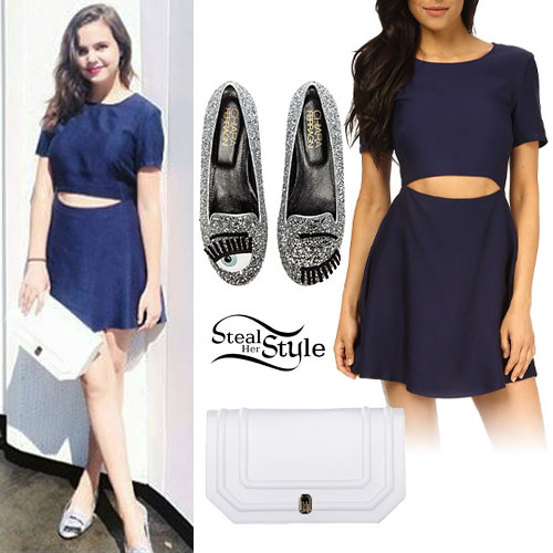 Bailee Madison: Navy Cutout Dress