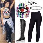 Bebe Rexha: Sequin Halter, Studded Boots