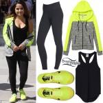 Becky G: Neon Green Hoodie & Sneakers