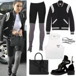 Bella Hadid: Varsity Jacket, Mini Tote