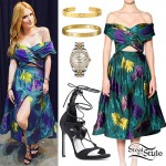 Bella Thorne: Green Floral Dress