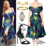 Bella Thorne: Green Floral Dress