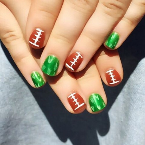 Brec Bassinger Brown Green Football Nail Art Nails Steal Her Style