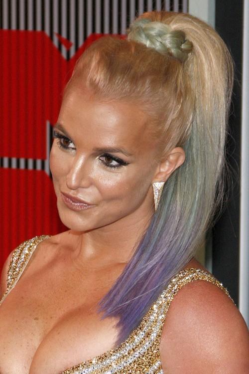 britney spears straight platinum blonde high ponytail