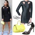 Chantel Jeffries: Cutout Dress, Neon Bag