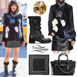 Ciara: Patchwork Sweater, Moto Boots