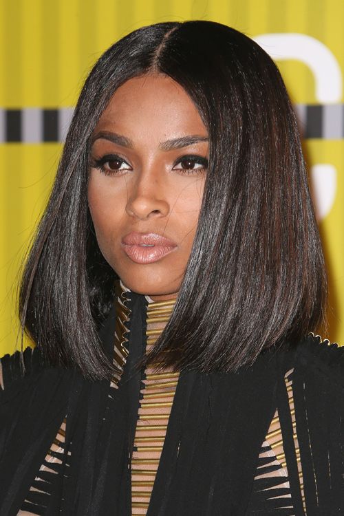 Ciara Straight Dark Brown All Over Highlights Blunt Cut