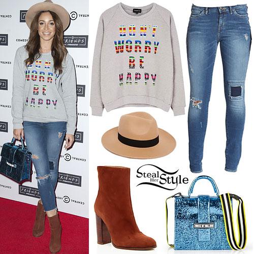 Danielle Peazer: Ripped Jeans, Metallic Bag