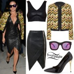Demi Lovato: Zig-Zag Jacket, Leather Skirt
