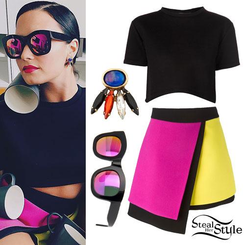 Demi Lovato: Neon Colorblock Skirt