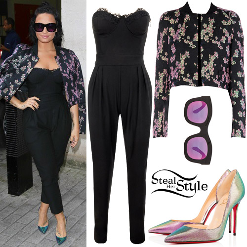 Demi Lovato Black Jumpsuit Floral Jacket Steal Her Style