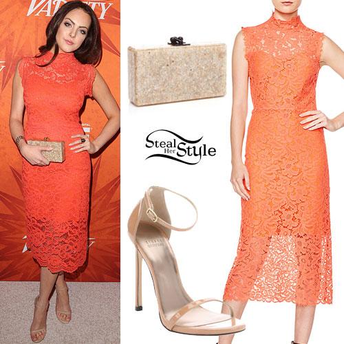 Elizabeth Gillies: Coral Lace Dress
