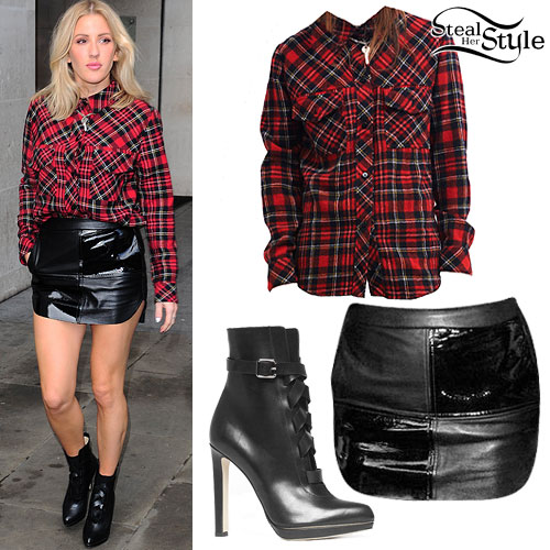 Ellie Goulding: Plaid Shirt, Leather Skirt