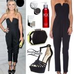 Emily Osment: Plunge Jumpsuit, T-Strap Sandals