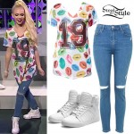 Jordyn Jones: Lips Jersey, Leather Sneakers