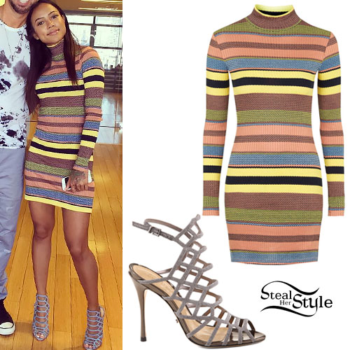 Karrueche Tran: Striped Sweater Dress