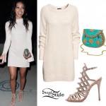 Karrueche Tran: Sweater Dress, Caged Sandals
