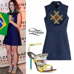 Kaya Scodelario: Beaded Dress, Feather Sandals