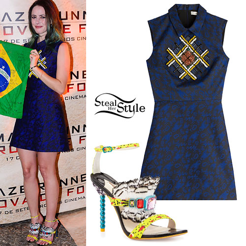 Kaya Scodelario: Beaded Dress, Feather Sandals