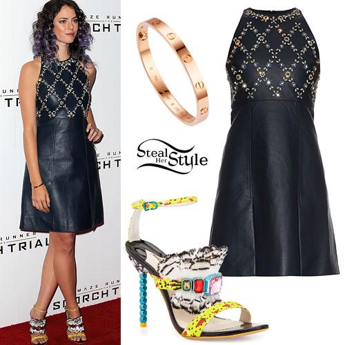 Kaya Scodelario: Beaded Leather Dress