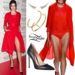Kendall Jenner: Red Coat, Black Pumps