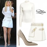 Kylie Jenner: White Turtleneck, Belted Skirt