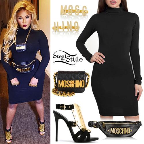 Lil Kim: Black Turtleneck Dress