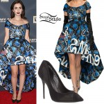 Lily Collins: Graffiti Dress, Mesh Pumps
