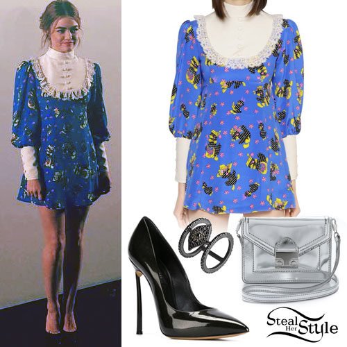 Lucy Hale: Bib Printed Dress