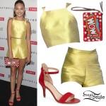 Maddie Ziegler: Yellow Top & Shorts