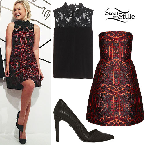 Olivia Holt: Lace Top, Printed Dress