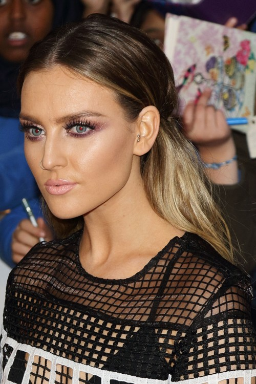 Perrie Edwards Wavy Medium Brown All Over Highlights