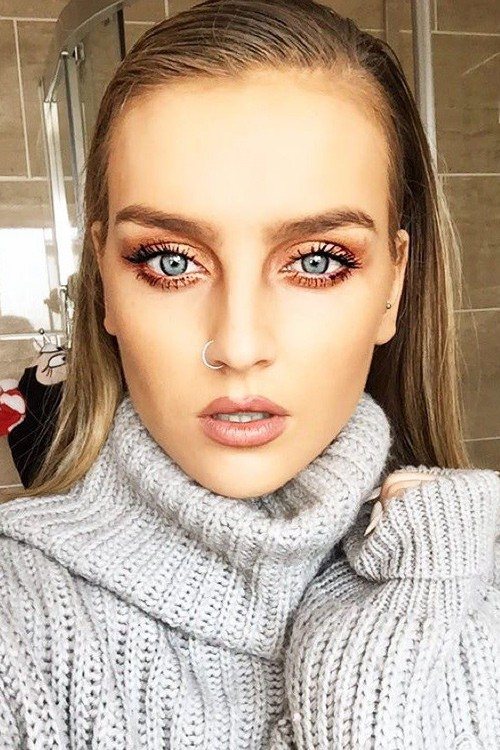 Perrie Edwards Straight Medium Brown All Over Highlights
