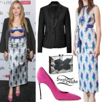 Peyton List: Floral Skirt, Suede Pumps