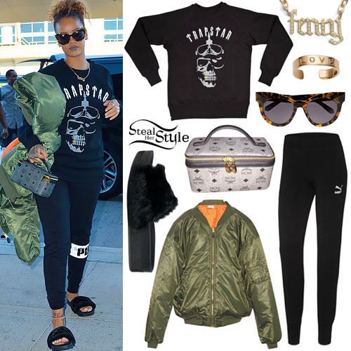 Rihanna: Green Jacket, Fur Sandals