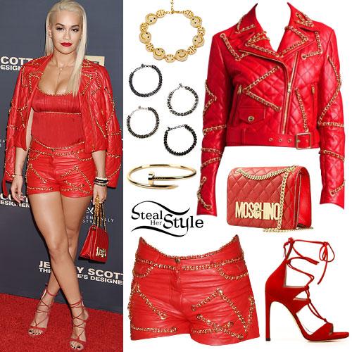 Rita Ora: Red Chain Biker Jacket