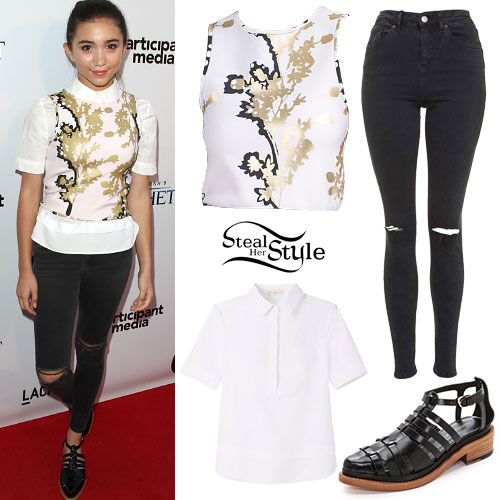 Rowan Blanchard: Gold Branch Top