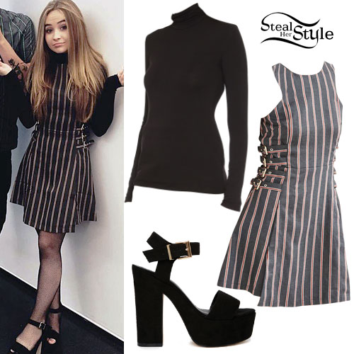 Sabrina Carpenter: Striped Dress, Turtleneck