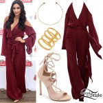 Shay Mitchell: Burgundy Jumpsuit